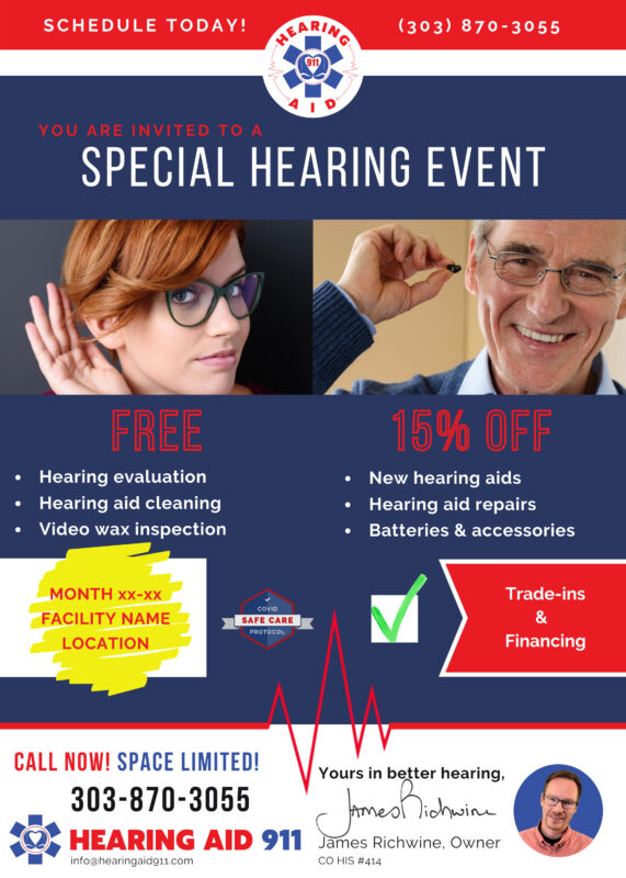 Senior Living Event Flyer for Hearing Aid 911