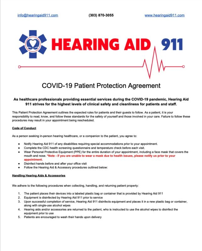 COVID-19 Patient Protection Agreement Page 1 for Hearing Aid 911