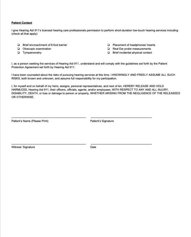 COVID-19 Patient Protection Agreement - Page 2 for Hearing Aid 911
