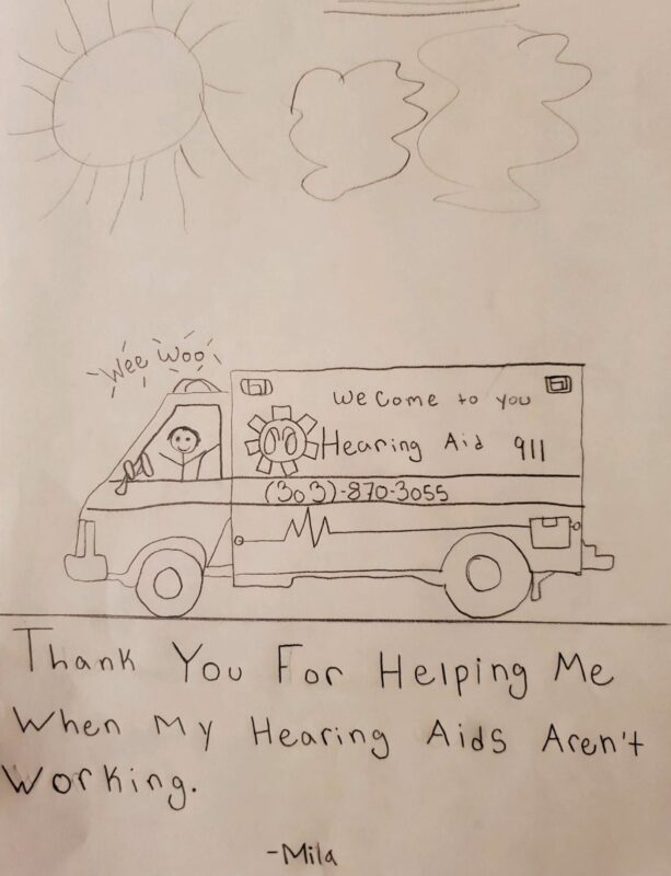 Testimonial Drawing from Mila for Hearing Aid 911